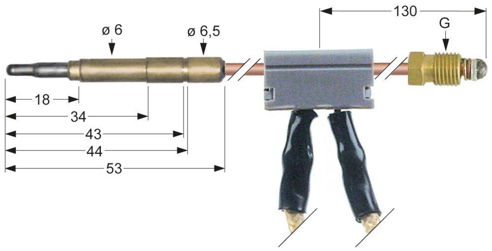 Kupfer  Universal Thermoelement 90cm mit Zubehör für Gas-Zünd-Brenner