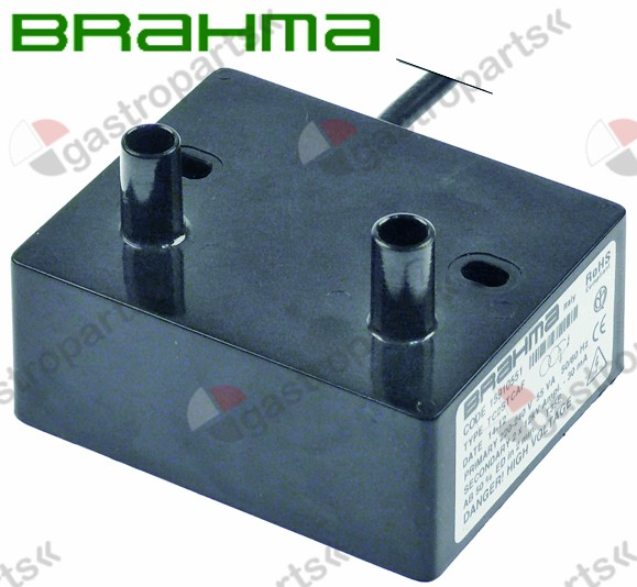 101.017, ignition unit outputs 2 230VAC dimensions 85x70x35mm mounting distance 60mm