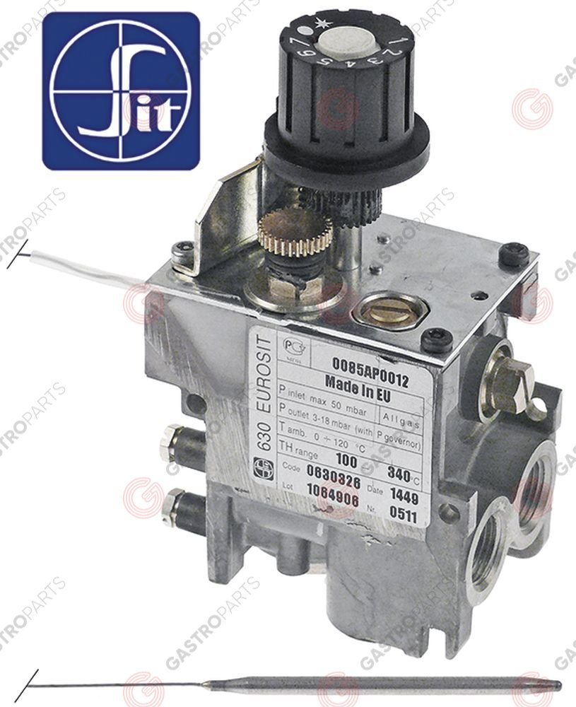 101.125, regulator gazu z termostatem SIT 630 Eurosit series 100-340°C temp. max 340°C