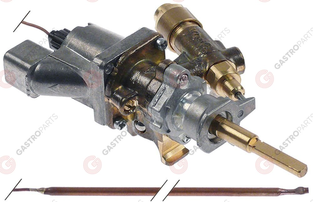 101.181, gas thermostat SABAF t.max. 300°C gas inlet pipe flange ø16mm bypass nozzle ø 0,46mm
