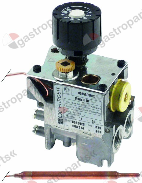 101.199, gas thermostat type 630 Eurosit series t.max. 38°C 13-38°C gas inlet 3/8