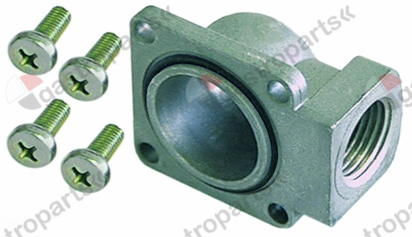101.306, gas connection angled flange 45x45mm hole distance 36x36mm 1/2