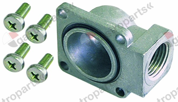 101.308, gas connection angled flange 45x45mm hole distance 36x36mm 3/4