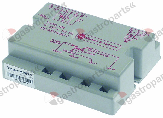 101.577, ignition box BERTELLI type AM11 electrodes 2 waiting time 2s safety time 10s 230V 50Hz
