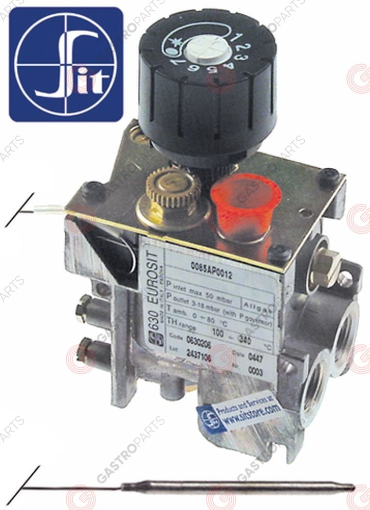 101.769, regulator gazu z termostatem SIT 630 Eurosit series 100-340°C temp. max 340°C