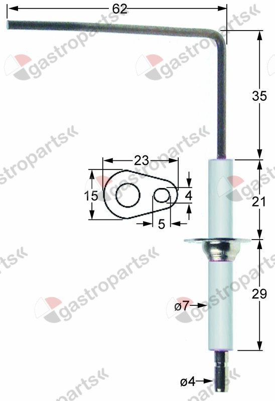 101.791, monitoring electrode connection ø 4mm flange length 23mm D1 ø 7mm flange width 15mm