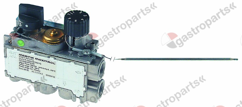 101.959, Replaced by 101855 / 112556 / 106701 / 999000 / gas thermostat MERTIK t.max. 340°C 100-340°Cgas inlet bottom 3/8