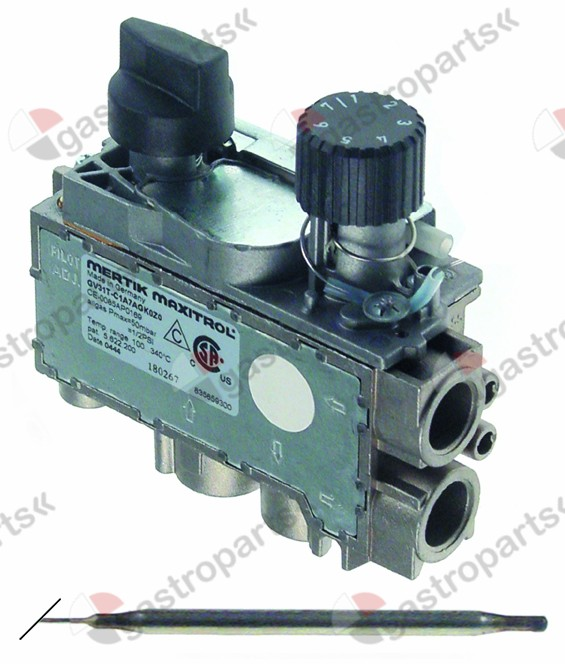 101.960, Replaced by 106813 / 112556 / 999000 / 106701 / gas thermostat MERTIK type GV31T t.max. 340°C100-340°C gas inlet bottom 3/8