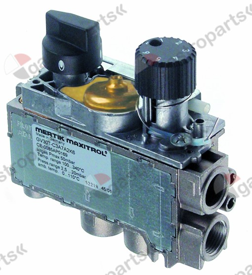 101.979, Replaced by 106700 / 106701 / 106702 / 999000 / 112556 / gas thermostat MERTIK type GV31T t.max. 190°C110-190°C gas inlet bottom 3/8