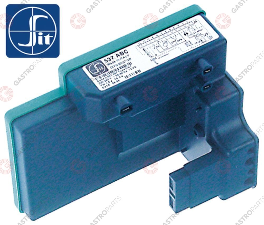 101.990, ignition box SIT type 537ABC electrodes 3 waiting time 1,5s safety time 5s 230V 10VA 50-60Hz