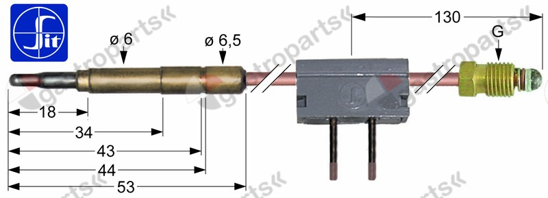 102.068, thermocouple SIT with interrupter M9x1 L 320mm plug connection ø6.0mm soldering connection