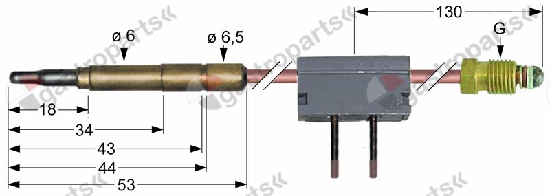 102.070, thermocouple with interrupter M9x1 L 1000mm plug connection ø6.0mm soldering connection