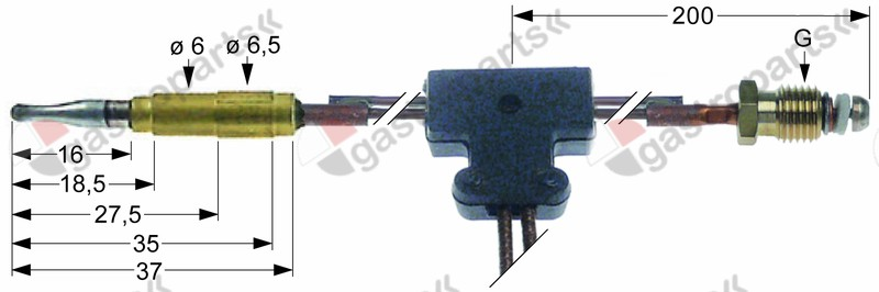 102.094, thermocouple with interrupter M9x1 L 750mm plug connection ø6.0mm cable 280mm