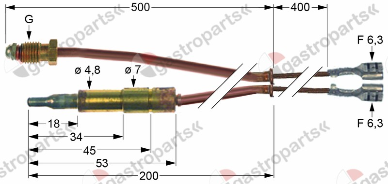 102.115, thermocouple with interrupter M9x1 L 500mm plug connection ø4.8mm F 6.3mm