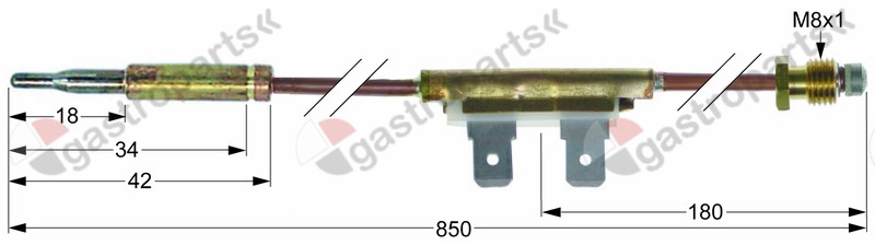 102.124, Replaced by 102269 / thermocouple with interrupter M8x1 L 850mmbarrel socket F 6.3mm