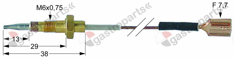 102.145, thermocouple L 600mm connection F 7.7mm M6x0.75