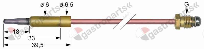 102.220, thermocouple M8x1 L 600mm plug connection ø6.0mm