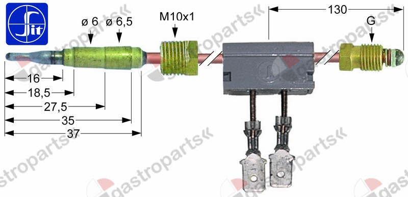 102.238, thermocouple with interrupter M9x1 L 600mm M10x1 F 6.3mm
