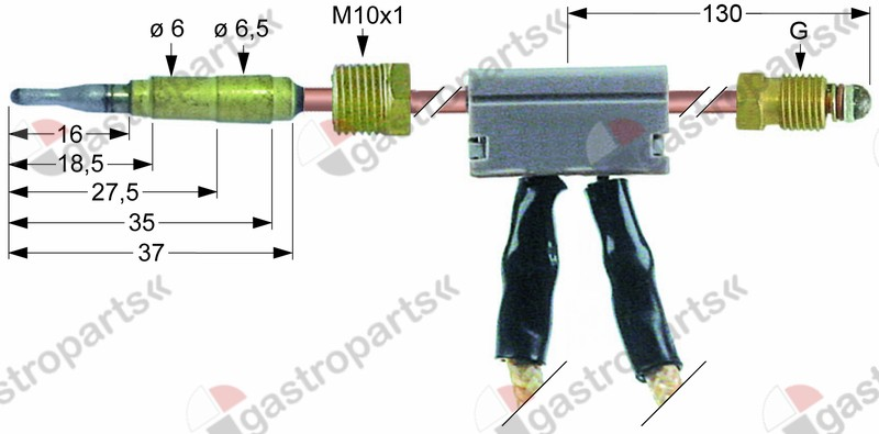 102.252, thermocouple with interrupter M9x1 L 600mm plug connection ø6.0mm cable 650mm