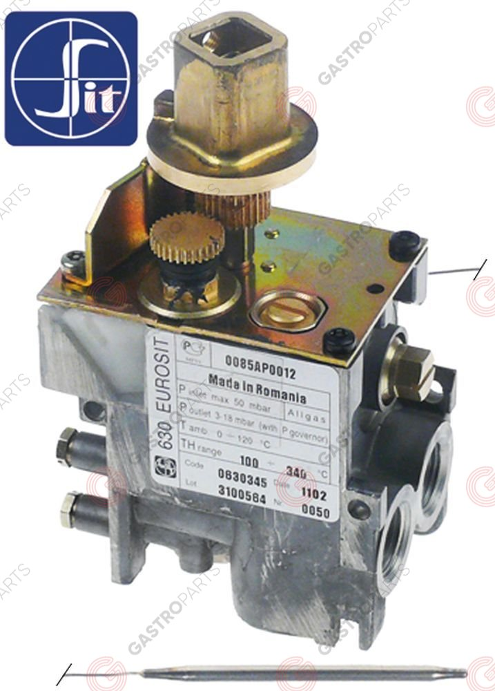 106.164, regulator gazu z termostatem SIT 630 Eurosit series 100-340°C temp. max 340°C