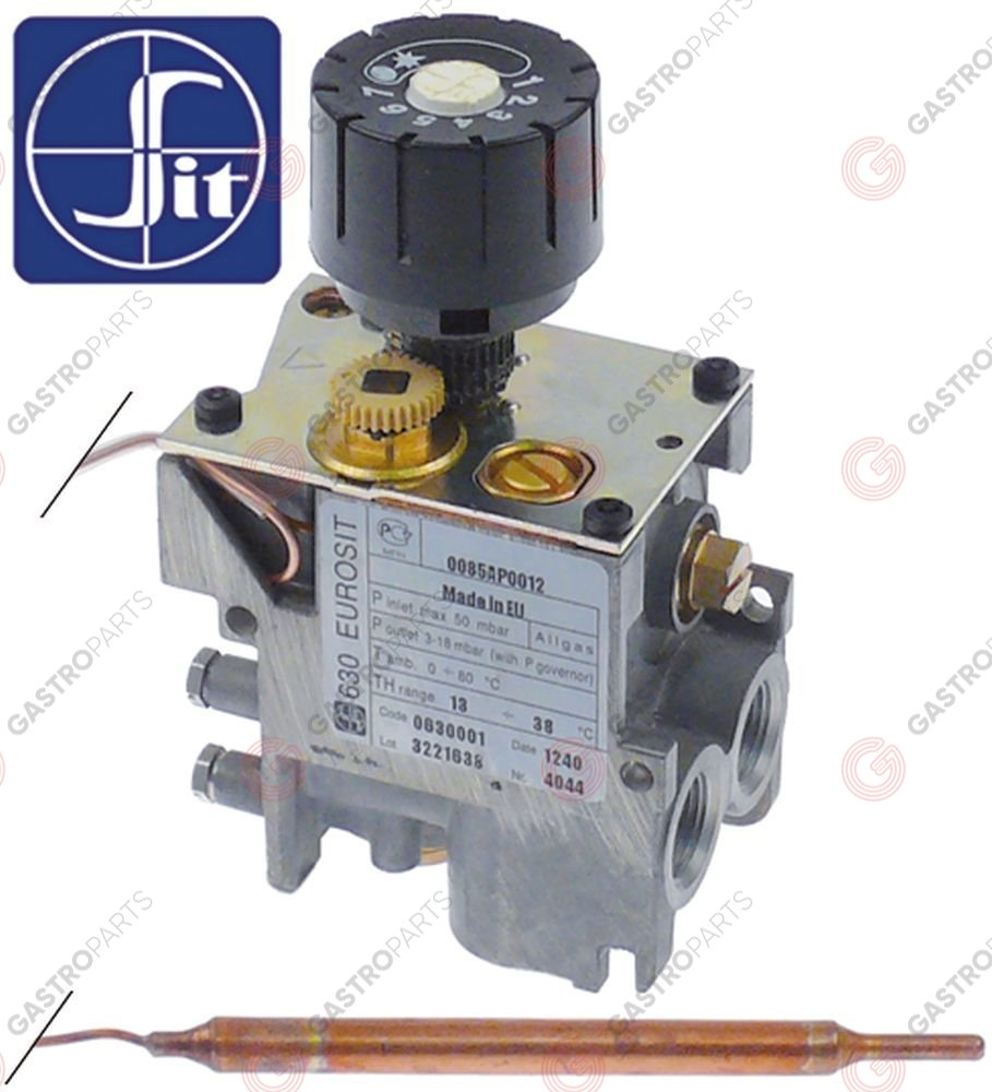 107.220, regulator gazu z termostatem SIT 630 Eurosit series 13-38°C temp. max 38°C