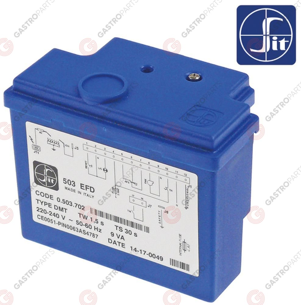 107.233, ignition box SIT type 503EFD electrodes 2 waiting time 1,5s safety time 30s 220-240V 9VA