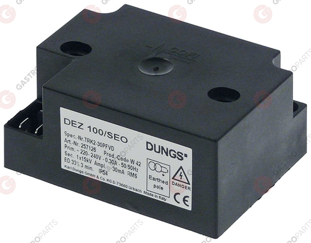 107.895, ignition unit outputs 1 220-240VAC dimensions 84x62x38mm mounting distance 58mm 1 PC