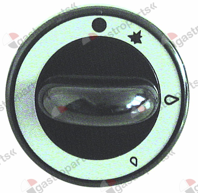 110.015, knob gas tap with ignition flame ø 62mm shaft ø 8x6.5mm shaft flat upper black