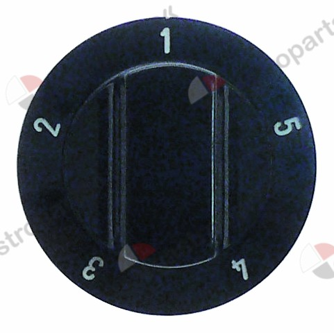 110.042, knob switch 5-position ø 60mm shaft ø 6x4.6mm shaft flat upper black