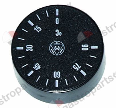 110.100, knob thermostat t.max. 90°C 0-90°C ø 42mm shaft ø 6x4.6mm shaft flat -135° black
