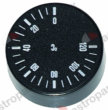 110.101, knob thermostat t.max. 120°C 0-120°C ø 42mm shaft ø 6x4.6mm shaft flat -135° black