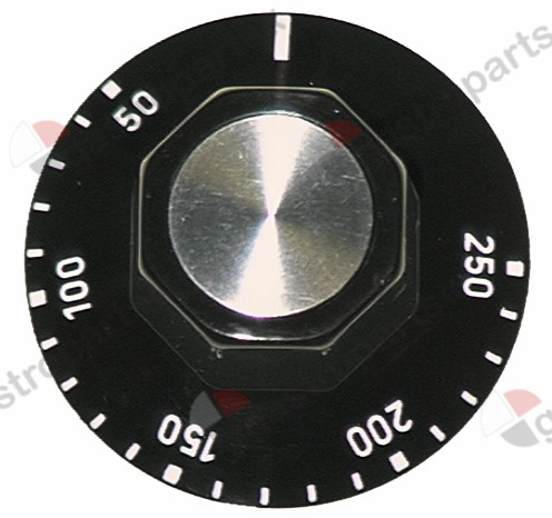 110.122, knob thermostat t.max. 250°C ø 50mm shaft ø 6x4.6mm shaft flat upper black