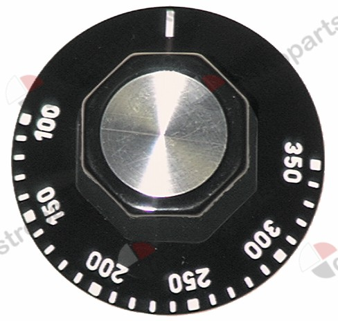 110.124, knob thermostat t.max. 350°C ø 50mm shaft ø 6x4.6mm shaft flat upper black