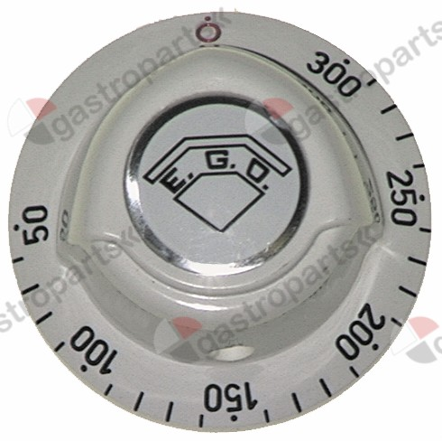 110.132, knob thermostat t.max. 300°C 50-300°C ø 52mm shaft ø 6x4.6mm shaft flat upper white