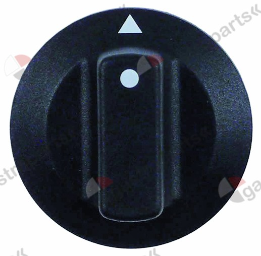 110.165, knob switch zero mark ø 42mm shaft ø 6x4.6mm shaft flat upper black
