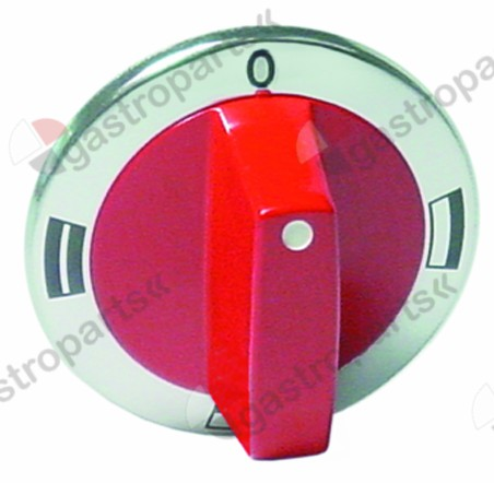 110.175, Ersetzt durch 110222 / Knebel Backofen OH/UH/OH+UH ø 63mm Achse ø 6x4,6mm Abflachung oben silber/rot