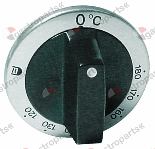 110.201, Replaced by 111821 / knob thermostat t.max. 180°C ø 63mmshaft ø 6x4.6mm shaft flat upper