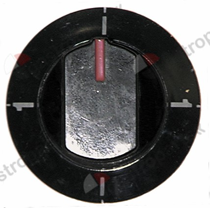 110.210, Replaced by 112173 / 112311 / 110542 / knob switch 0-1-0-1 ø 64mm shaft ø 6x4.6mmshaft flat lower black