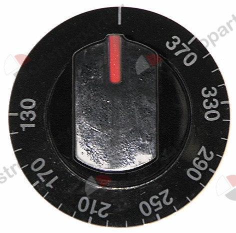 110.216, knob thermostat t.max. 370°C ø 64mm shaft ø 6x4.6mm shaft flat lower black