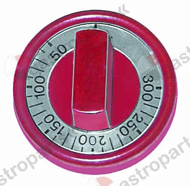 110.299, knob thermostat t.max. 300°C ø 76mm shaft ø 6x4.6mm shaft flat upper red