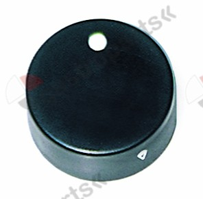 110.329, knob gas tap with ignition flame PEL21/22/23 ø 40mm shaft ø 6x4.6mm shaft flat left black
