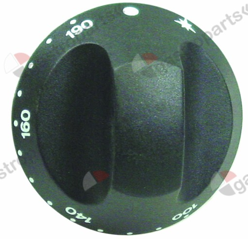 110.415, knob thermostat t.max. 190°C ø 67mm shaft ø 10x8mm shaft flat upper black temperature range 100-190°C