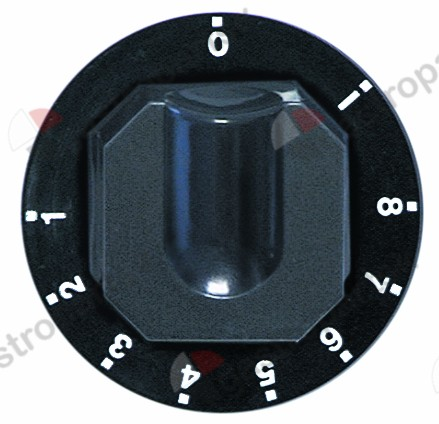 110.429, knob energy regulator 1-8 + MAX ø 70mm shaft ø 6x4.6mm shaft flat upper black