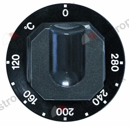 110.447, knob thermostat t.max. 280°C temperature range 120-280°C ø 70mm shaft ø 6x4.6mm