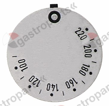 110.515, knob dial plate thermostat t.max. 220°C 100-220°C rotation 310° ED ø 45mm silver