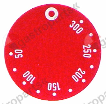 110.516, knob dial plate thermostat t.max. 300°C 50-300°C ED ø 45mm red
