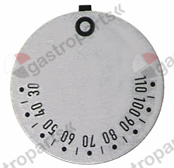 110.517, knob dial plate thermostat t.max. 110°C 30-110°C rotation 270° ED ø 45mm silver
