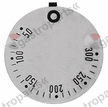 110.520, knob dial plate thermostat t.max. 300°C 50-300°C rotation 270° ED ø 45mm silver