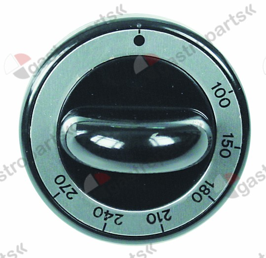 110.682, knob thermostat t.max. 270°C ø 62mm shaft ø 8x6.5mm shaft flat upper black