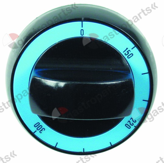 110.684, knob gas thermostat t.max. 300°C ø 72mm shaft ø 8x6.5mm shaft flat upper black